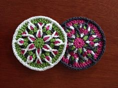 """RBSCrochet Mandala Coaster Pattern  These mandalas work well as coasters and also make great decorations.   Size: Each coaster is approximately 4 ¼"""" in diameter, but will vary based on yarn and hook used.  Level: This is an intermediate level pattern. Multiple rounds are worked into the same round. However, 121 pictures are included detailing all of the more complicated stitches.  Pictured coasters are made with DK weight yarn, but any yarn can be used.  Available on Etsy and Ravelry."""