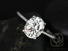 Rosados Box Blake 10x8mm Platinum Oval FB Moissanite and Diamonds Cathedral Engagement Ring