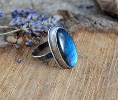 Flashy Labradorite Statement Ring Size 8.75 by GemspellJewellery