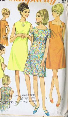 "1 PC DRESS VINTAGE SEWING PATTERN 7120 SIMPLICITY SIZE 20 BUST 40 HIP 42"" CUT"