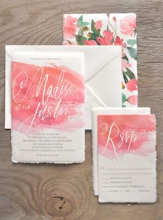 Oh So Beautiful Paper: Watercolor Calligraphy Wedding Invitations by Julie Song Ink - Inspirational Weddings Wedding Invitation Inspiration, Wedding Invitation Suite, Wedding Stationary, Invitation Design, Wedding Inspiration, Invitation Ideas, Wedding Suite, Invitation Cards, Wedding Paper