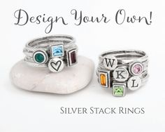 Design your Own Silver Stackable Rings.  Mix por NelleandLizzy