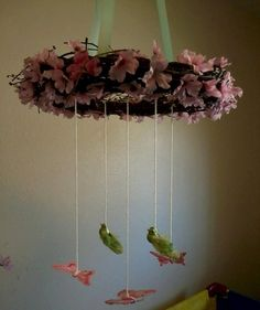 Homemade+Wreath+Mobiles+Custom+Made+to+by+CustomCreationbyKass,+$35.00  Use fabric birds, and some crystals on Fishing line???