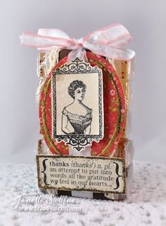 Teacher Thank you Soap Stack with Stampendous' Vintage Frames, Corset Ladies, Friendship Assortment
