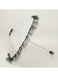 Dotty Tulle over Cotton Wedding Umbrella with Lace Hem - USD $29.99