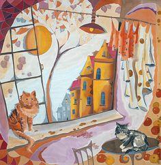 Елена Моф. Два кота. Handmade. Панно, роспись по шелку
