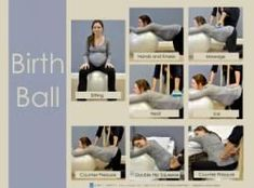 This birth ball poster visually details various techniques and methods using the birth ball to help during labor.