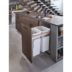 This durable Rev-A-Shelf Double Pull-Out Top Mount Wood or White Waste Container for Frameless keeps your kitchen trash cans out of sight. Kitchen Room Design, Kitchen Cabinet Design, Home Decor Kitchen, Interior Design Kitchen, Home Kitchens, Small Modern Kitchens, Modern Kitchen Cabinets, Modern Kitchen Designs, L Shaped Kitchen Designs