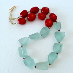 Chunky Aqua and Coral Necklace by by KarenWhalenDesigns on Etsy