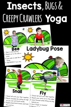 Super fun kids yoga with an insects, bugs, and creepy crawlers yoga theme!  I love how real kids are being used in the poses!