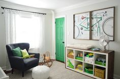 love their new nursery!! My fave Kelly green as an accent.  http://www.younghouselove.com