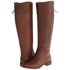 Nine West Counter Wide Calf (Cognac Leather) Women's Zip Boots ($60) ❤ liked on…