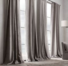 Restoration Hardware Belgian Textured Linen French-Pleat Drapery - Home Decoz Style At Home, Home Look, French Pleat, Curtains With Blinds, Black Curtains Bedroom, Dark Curtains, Grey Linen Curtains, Grey Velvet Curtains, Bedroom Windows