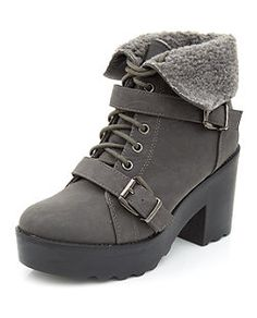 Dark Grey Shearling Cuff Lace Up Chunky Heel Boots  | New Look