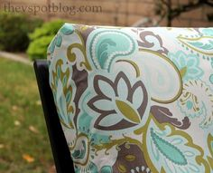 DID IT! No Sew Project: How to recover your outdoor cushions using fabric and a glue gun. So doing this to my ugly old half dog chewed furniture cushions! I actually sewed mine and used heavy duty Velcro on the edges so they can be washed. Two years later and still look awesome!