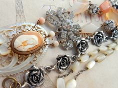 Cameo Assemblage Necklace Virgin Mary Celluloid Semi by Vinchique