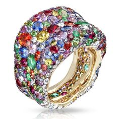 Yet another Faberge masterpiece: Emotion multi coloured ring, featuring over 300 gemstones incl diamonds, rubies and sapphires set in yellow gold