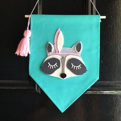 Lily the raccoon wall banner monochrome wall by Hangingwithlucy