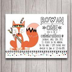 Adorable invite!! Future birthday party?? :) Fox Pow Wow Tribal Birthday Party Invitation by INVITEDbyAudriana