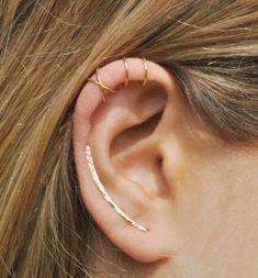 Juego de 3 - Pin oído escalador, manguito del oído, doble manguito del oído, pendiente escaladores 30mm, Criss Cross oído brazalete, pendientes de escalador, correas eslabonadas de la oreja, pendientes