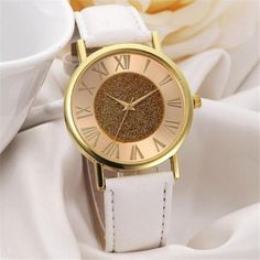 Fashion CLAUDIA High Quality Women Glitter Dial Leather Band Analog Quartz Wrist Watch Watches