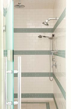 Walker Zanger Roku Glass in Rain in shower by Tobi Fairley Interior Design