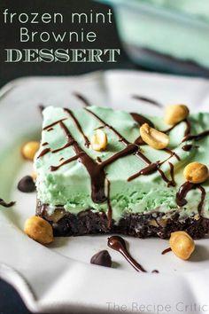 Frozen mint brownie dessert