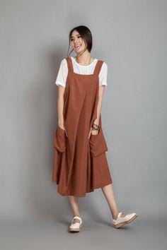 6ef25acc71 Loose Braces Linen Dress Suspender Dress