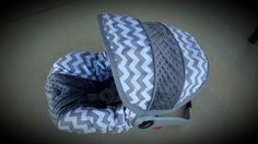 Grey and White Chevron with gray Minky - Custom order- Always comes with free strap covers by BABYCOVERS2010 on Etsy https://www.etsy.com/listing/235115387/grey-and-white-chevron-with-gray-minky