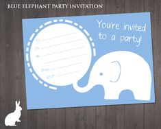 FREE Blue Elephant Party Invitation | Ruby and the Rabbit