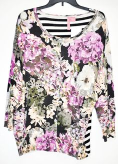 WOMEN CARDIGAN SWEATER CHARLOTTE TARANTOLA Floral Stripe 3/4 Sleeve Plus 3X NWT  #CharlotteTarantola #Cardigan
