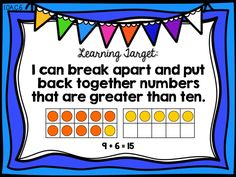 Learning Target Poster  Ready Math First Grade - Lesson 13 - Understand Sums Greater than Ten