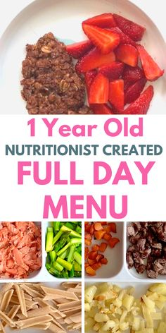Healthy meal plan for a 1 year old baby - with a cacao oatmeal baby breakfast recipe, a salmon baby lunch recipe and a lamb baby dinner recipe. Healthy Toddler Meals, Toddler Lunches, Toddler Food, Easy Toddler Snacks, Toddler Dinners, Baby Meals, 1 Year Old Meals, 1 Year Old Food, 1 Year Old Meal Ideas
