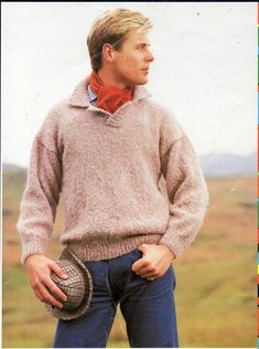 vintage mens polo shirt knitting pattern pdf Aran collar sweater jumper 32-44 inch aran worsted 10ply Instant download by Hobohooks on Etsy