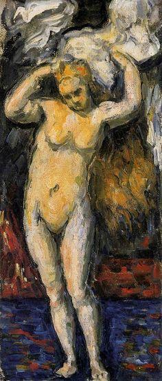 Paul Cézanne, Baigneuse debout s'essuyant les cheveux, c.1869 on ArtStack #paul-cezanne #art