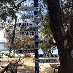 Australia is south of the Gili Islands if you were wondering ;-) #upsticksandgo #giliT #giliislands #signsoftheworld #travelphotos #travellingtheworld #lombok #indonesia #thewayhome #18monthsoftravel