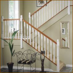 Trademark stair balustrade from Richard Burbidge is an affordable and flexible range of wooden stair spindles, base rails and newel posts. Staircase Spindles, Oak Banister, Oak Handrail, Wood Railing, Oak Stairs, Wooden Stairs, Banisters, Stair Railing, Staircase Design