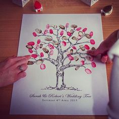 Personalised Fingerprint Wedding Tree por DesignedByJoe en Etsy