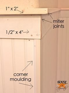 How to hang Beadboard.  Different layers of moulding labeled for easy understanding. www.houseofhepworths.com