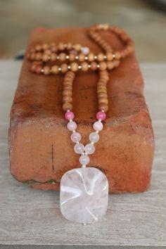 Rose Quartz Sandalwood Mala  - Meditation Inspired Yoga Beads BOHO chic / mala beads