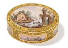 A vari-color gold and enamel snuff box, probably Swiss, late 18th century