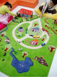 Kinderzimmer wandgestaltung bauernhof  Kinderteppich Kinderzimmer Lustige Bauernhof Tiere Konturenschnitt ...