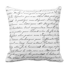French script pillow, white