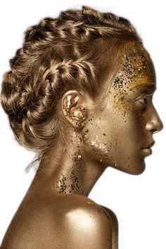The Stylish Gypsy Braided Hairstyles, Cool Hairstyles, Miss And Ms, Freckle Face, Golden Goddess, Shades Of Gold, Fantasy Makeup, Gold Hair, Artistic Make Up