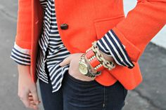 @Diana Hurst  This would look adorable on you!   Navy and White Stripes with Orange Blazer