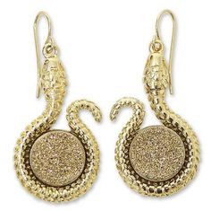 Gold Plated Drusy Snake Earrings - Amazon Serpent | NOVICA