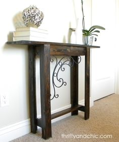 Thrifty and Chic: DIY Custom Sofa Table. This project could be done with reclaimed wood. Furniture Projects, Furniture Makeover, Home Projects, Home Furniture, Diy Projects Garage, Coaster Furniture, Wicker Furniture, Diy Sofa Table, Dyi Couch