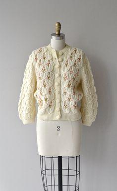 Winter Buds cardigan vintage 1950s nubby knit by DearGolden
