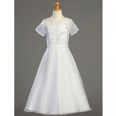 Lito Girls White Beaded Sheer Tea Length First Communion Dress 14
