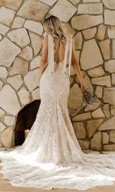 Daughters of Simone 2020 'Come Hell or High Water' collection featuring AMANDA Low Back Wedding Gowns, Unique Wedding Gowns, Wedding Dresses With Straps, Luxury Wedding Dress, Bohemian Wedding Dresses, Wedding Ideas, Bridal Lace, Bridal Gowns, Lace Wedding